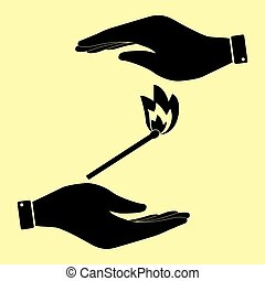 Save or protect symbol by hands. - Match sign. Save or...