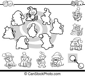 match silhouettes game coloring page - Black and White...