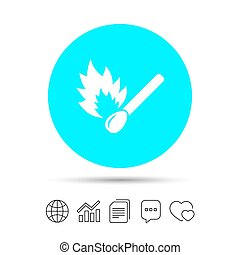 Match stick burns icon. Burning matchstick sign.