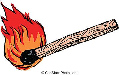 match stick - hand drawn, sketch, illustration of match...