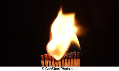Match Sticks Catching Flame - Twelve Sticks.