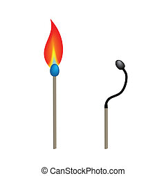 Match sticks - Illustration of two match sticks with burning...