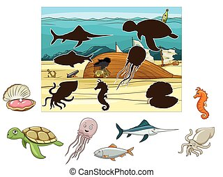 Match the animals and fish to their shadows