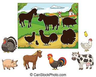 Match the animals to their shadows child game cartoon hand...