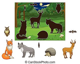 Match the animals to their shadows educational game vector illustration