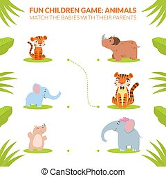 Match the Babies with their Parents, Animals Educational Fun Children Game Cartoon Vector Illustration