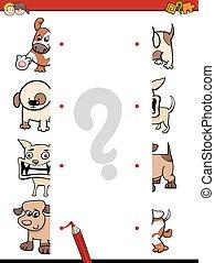match the dog halves game - Cartoon Illustration of...
