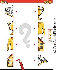 match the halves of objects - Cartoon Illustration of...
