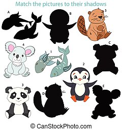 Match the pictures to their shadows child game cartoon hand...
