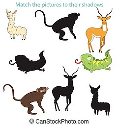 Match the pictures to their shadows child game
