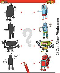 match the shadows game with robots - Cartoon Illustration of...
