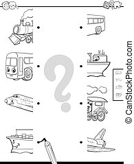 match vehicles halves coloring page - Black and White...