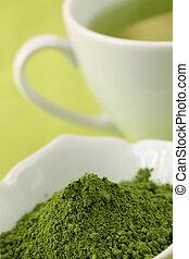 matcha, chá verde, pó