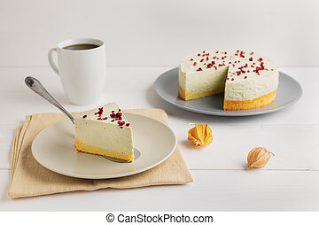 Matcha green tea cheesecake on white background