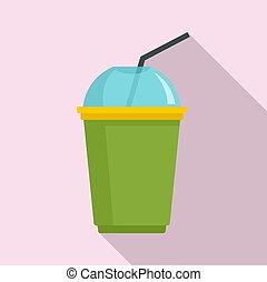 Matcha smoothie icon, flat style