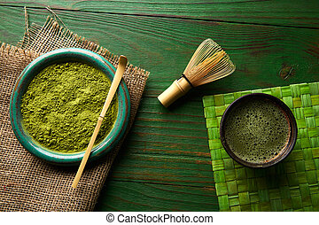 Matcha tea powder bamboo chasen and spoon - Matcha tea...