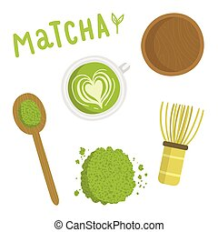 Matcha tea set. Isolated object. Vector hand drawn...