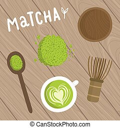 Matcha tea set on the wooden background.