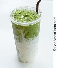 Matcha Tea with Milk on whit background