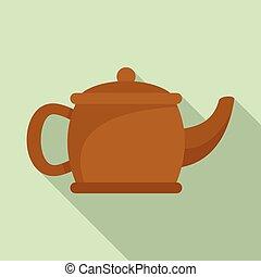 Matcha teapot icon, flat style