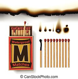 Matchbox and matches, burn paper, vector illustration.