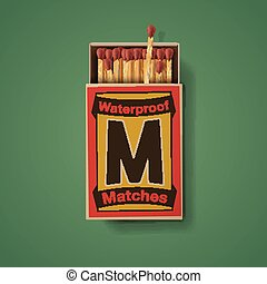 Matchbox and matches, top view isolated on green background,...