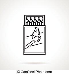 Matchbox black line vector icon