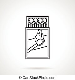 Matchbox black line vector icon