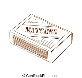 Matchbox - Brown matchbox - vector illustration.