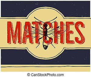 Matchbox design and matches with insect in retro style. Top view. Vintage habd drawn illustration. Stock vector