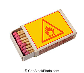 matchbox isolated on white with hazard sign, clipping path.