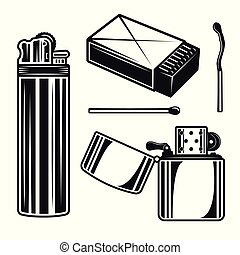 Matchbox, matches and lighters vector objects - Matchbox,...