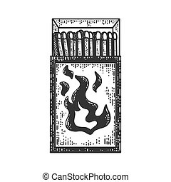 Matchbox sketch engraving vector illustration. T-shirt apparel print design. Scratch board imitation. Black and white hand drawn image.