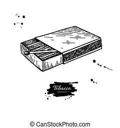 Matchbox vector drawing. Hand drawn matches box illustration. Is