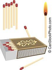 Matchbox With Matches Vector Art