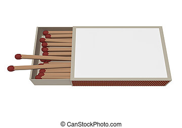 Matchbox With Matches Isolated On A White Background