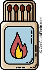 Matches box flat vector isolated icon. Cartoon style