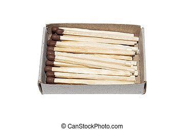 Matches in a box isolated on a white background.