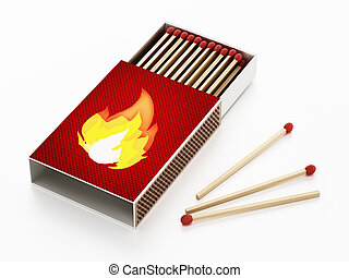 Matches inside open matchbox isolated on white background. 3D illustration