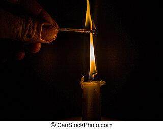 matches, lys, brændende, gennemlyse