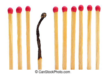 Matches on a row with one burned