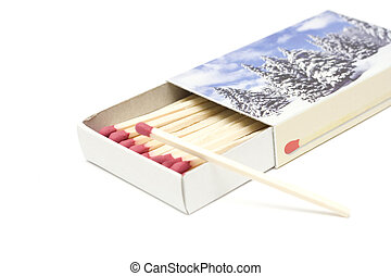 Matches - open cardboard box with matches isolated on white