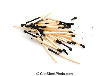 Matches - Pile of used matches isolated on white background.
