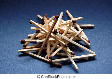 Matches - Stack of matches with brown match-head