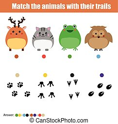 Matching children education game, kids activity. Match animals with trails.