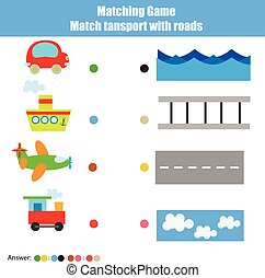 Matching children education game, kids activity. Match transport with road