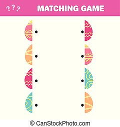 Matching children educational game. Find missing part of Easter eggs