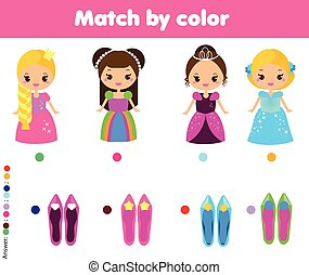 Matching children educational game. Kids activity. Match by color