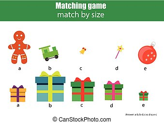 Matching children educational game. Kids activity. Match by size