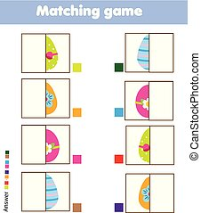 Matching children educational game. Kids activity. Match Eggs parts. Easter theme